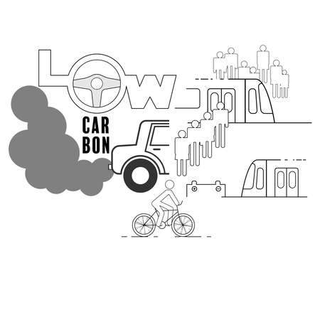 Low carbon typographic design. Reduce private car use, more public transportation and cycling. Vector illustration outline flat design style.