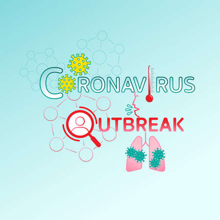 Coronavirus outbreak typographic design. Vector illustration concept outline flat design style.