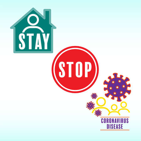 Stay home to stop coronavirus. Vector illustration outline flat design style.