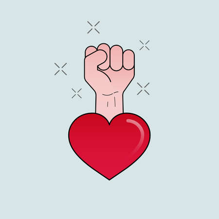 Fight fist, strong heart, ready to overcome. Vector illustration concept outline flat design style.