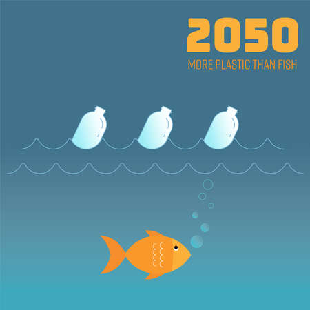 Situation of ocean plastic pollution in 2050, the oceans could have more plastic than fish. Vector illustration outline flat design style.  イラスト・ベクター素材