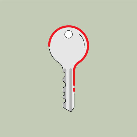 Key to the riddle. Key shape imply to question mark as a gimmick. Solve the problem. Vector illustraion outline flat design style.