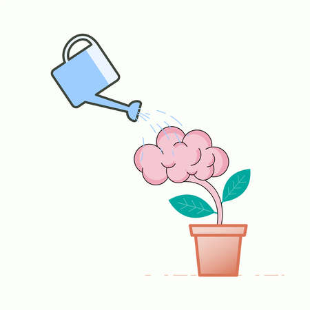 Watering the brain tree, a metaphor for maintain the brain. Vector illustration concept outline flat design style. 向量圖像