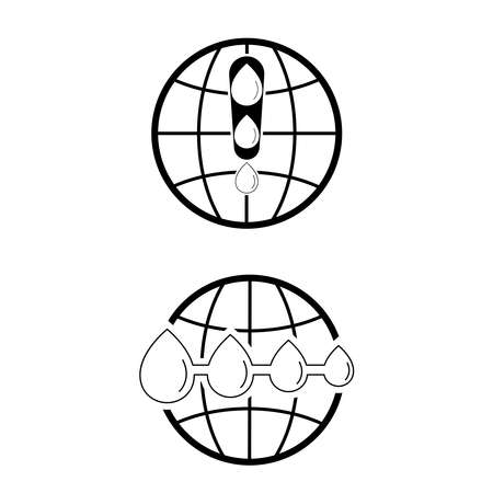 Water drops become smaller and fewer on globe line black icon. World facing water shortage warning. Vector illustration outline flat design style.