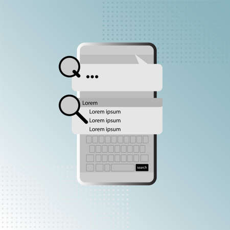 Internet searching on smartphone. Search engine technology. Vector illustration outline flat design style. Vettoriali