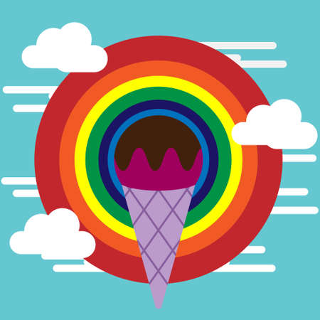 Ice cream cone on the colourful rainbow circle background floating on the sky. Vector illustration.