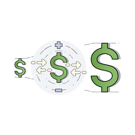 Dollar signs arrange in order of size from smallest to largest representing the value of money. Currency rate, exchange rate. Vector illustration outline flat design style.