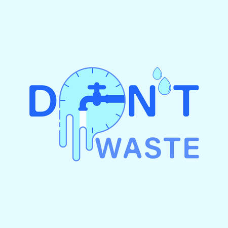 Don't waste water typographic design. Combination of clock and overflowing shape as a gimmick of loss. Vector illustration outline flat design style.
