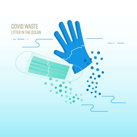 Floating disposable surgical face mask and glove. Covid waste, new kind of plastic pollution threatening the ocean. Vector illustration outline flat design style.