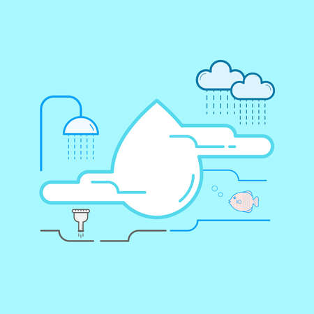 Water resources are natural and relevant to life. It is important to protect water source both for human uses and ecosystem health. Vector illustration outline flat design style. Illusztráció