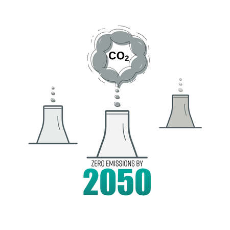 Industrial chimneys gradually reduce CO2 emissions to zero level. CO2 zero emissions by 2050 typographic design. Vector illustration outline flat design style.