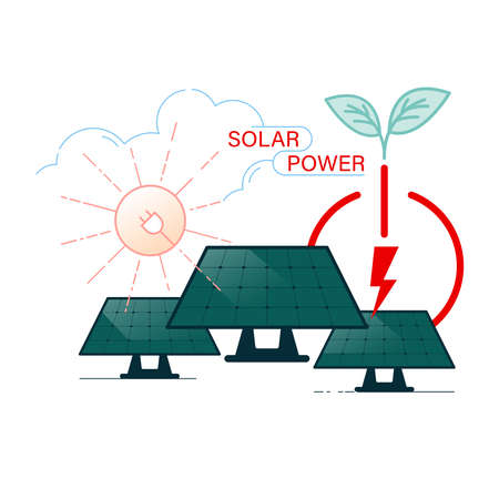 Solar power is a renewable and clean energy. Eco-friendly energy source. Vector illustration outline flat design style.