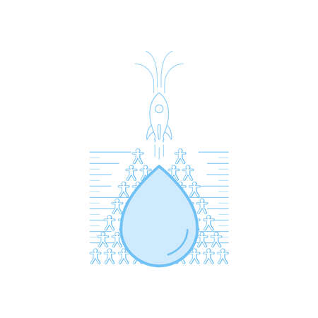 Rising rocket as a gimmick of fast growing population. Overpopulation will become problematic for limited water resource. Vector illustration outline flat design style.