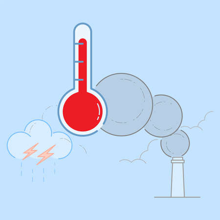 Too much CO2 emission in atmosphere cause global warming and climate change. Vector illustration outline flat design style. Vektoros illusztráció