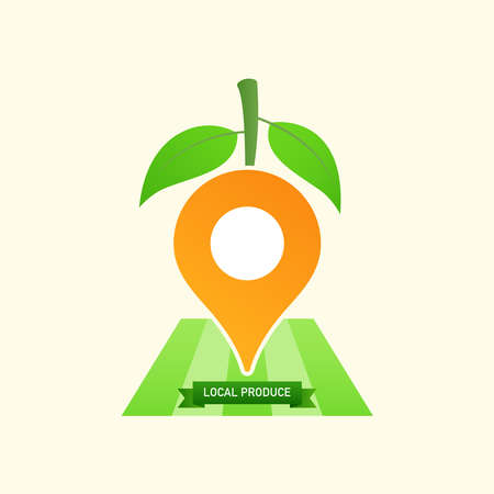 Location icon decorated with leaves and stick as a gimmick of local produce. Vector illustration outline flat design style.