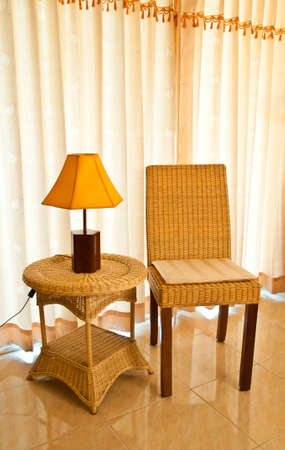Wicker chair in the room photo