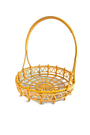 full willow: wicker basket isolated on white background