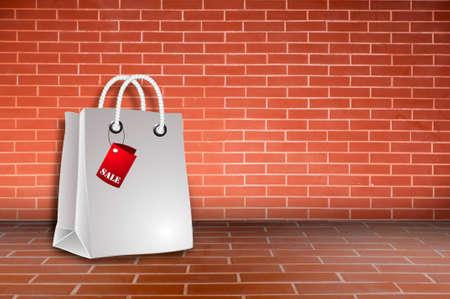 bag sale on brick wall photo