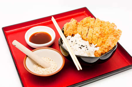 rice and fried pork cutlet photo