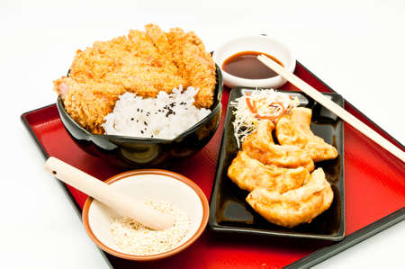 rice and fried pork cutlet and Fried Dumplings photo