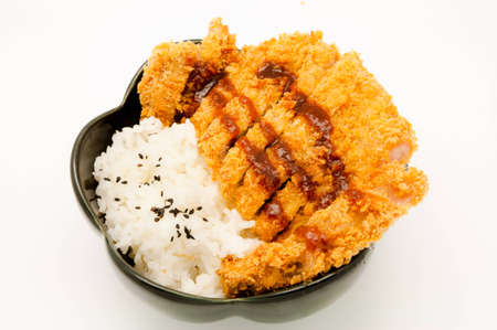 rice and fried pork cutlet with japanese sweet sauce photo