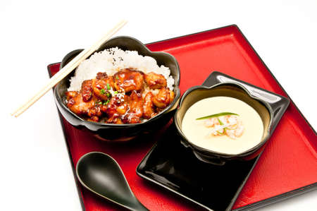 Teriyaki Chicken Rice and Chinese Steam egg photo
