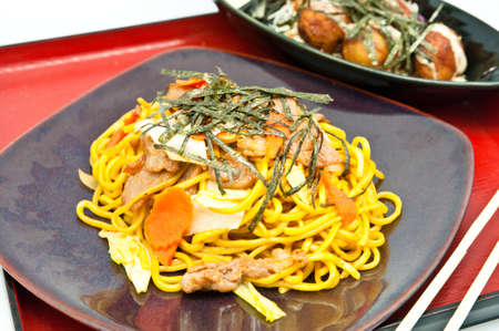 Stir-fried noodles and takoyaki Stock Photo - 9781744