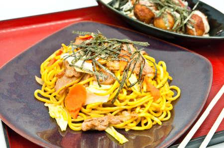 Stir-fried noodles and takoyaki photo