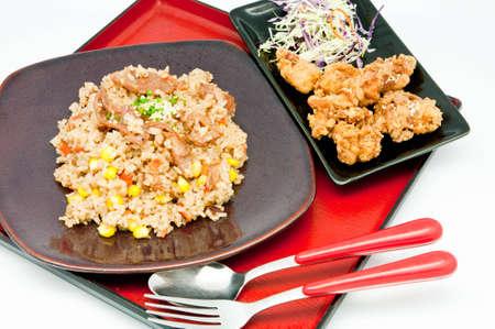 japanese Cuisine -fried rice Teriyaki pork  on whit backgrpund Stock Photo - 9781743