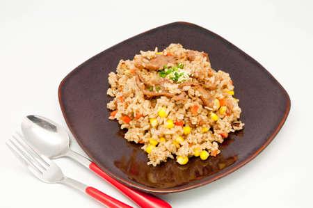 fried rice Teriyaki pork  on whit backgrpund photo