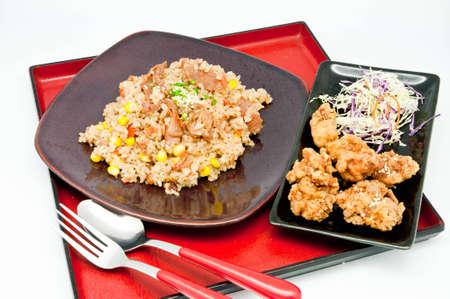 japanese Cuisine -fried rice Teriyaki pork  on whit backgrpund photo