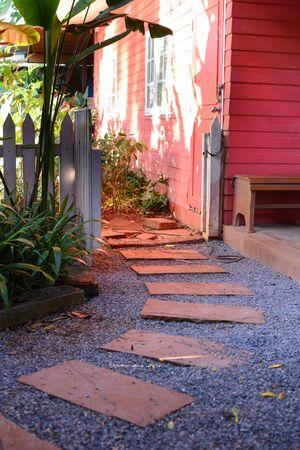 frontyard: Stone Steps to Frontyard Garden