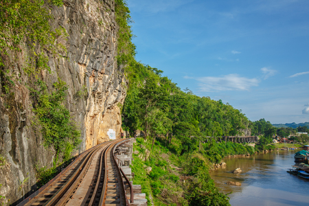 View of nature and Railroad tracks in thailand