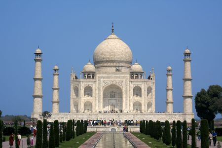 Side view of the Taj Mahal at Agra  India with two minarets showing Stock Photo - 4805795