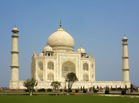 place of interest: Side view of the Taj Mahal at Agra  India with two minarets showing