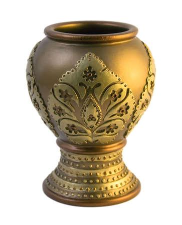 fancy golden clay vase photo