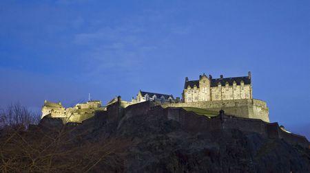 Panoramic view of the Edinburgh Castle at Dusk, Scotland photo