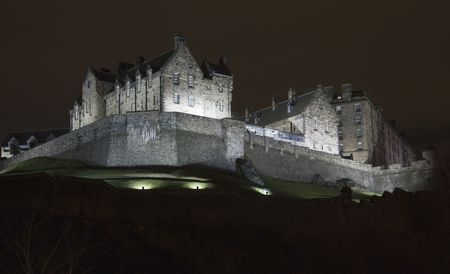 highland: Panoramic view of the Edinburgh Castle at night, Scotland