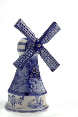Vintage Blue Delft Porcelain Windmill isolated on white Stock Photo - 13008032