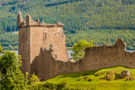 Urquhart Castle at Drumnadrochit, Inverness in Loch Ness, Scotland Stock Photo