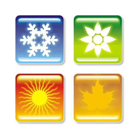 weather terms: A button style image depicting four seasons Stock Photo
