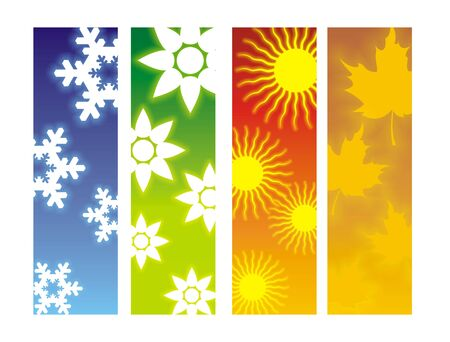weather terms: Four tall banner showing 4 seasons.