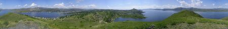周辺ベイのパノラマ ビュー。それは高い丘から撮影されます。
