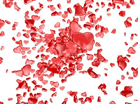 One red heart on white background