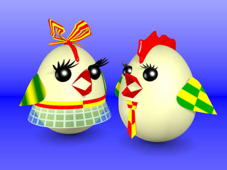 Easter eggs designed as hen and the rooster