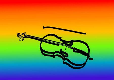 Vector Line art image of violin Vector