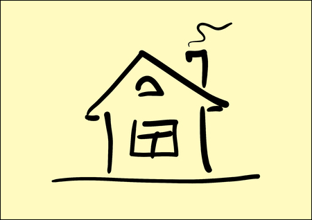 small house: Vector Line art image of small house