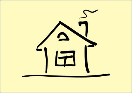 Vector Line kunst imago van kleine huis Vector Illustratie