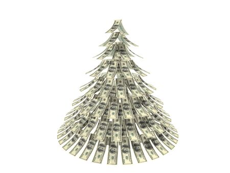 christmas debt: Dollars notes maden as Christmass tree against white background