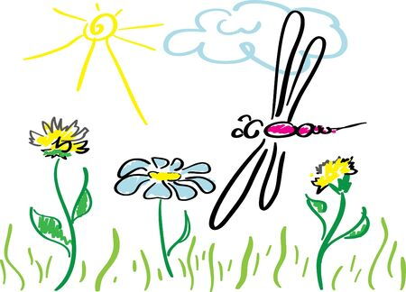 Hand drawing image of Dragon-fly and flowers